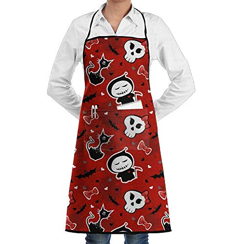 ARGICI Novelty Funny Halloween Characters Kitchen Chef Apron with Big Pockets - Chef Apron for Cooking,Baking,Crafting,Gardening and BBQ
