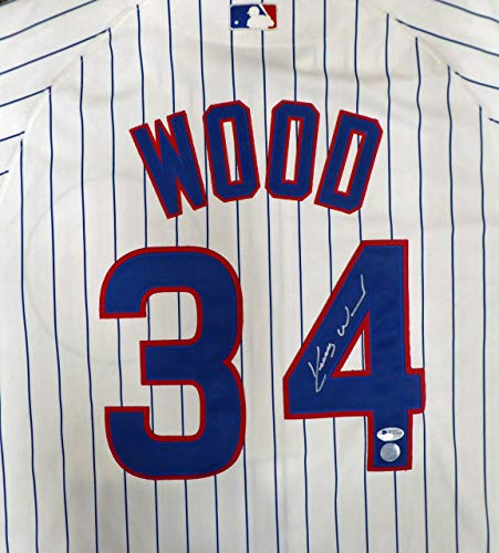 (Chicago Cubs Kerry Wood Autographed White Authentic Majestic Jersey Beckett BAS #H44564)