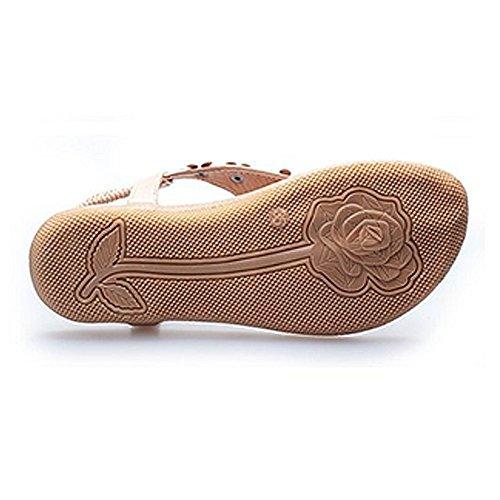 Verano Mujeres Flip-flop Sandalias T-Strap Zapatos Albaricoque