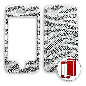 Apple iPhone 4 - 4S (AT&T/Verizon/Sprint) Full Diamond Crystal, Clear Zebra iPhone 4 Hard Case/Cover/Faceplate/Snap On/Housing/Protector