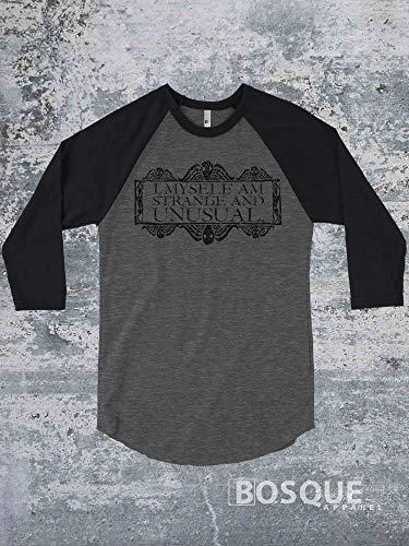I, Myself, Am Strange and Unusual Halloween 3/4 Sleeve Baseball Raglan Halloween Beetlejuice inspired shirt - Ink Printed