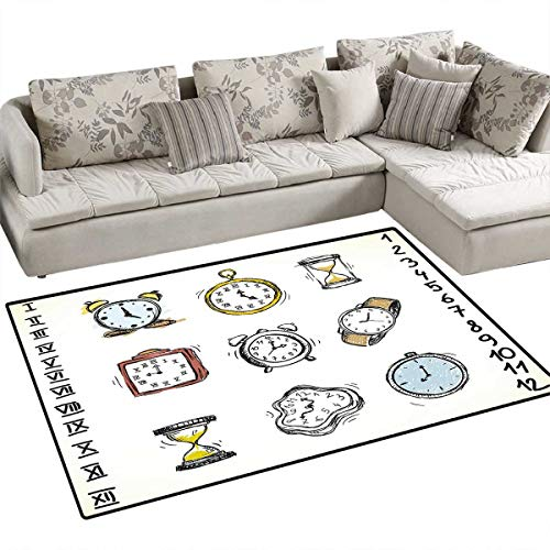 - Clock Anti-Skid Rugs A Collection of Vintage Style Watches and Doodled Clocks Hand Drawn Illustration Girls Rooms Kids Rooms Nursery Decor Mats 55