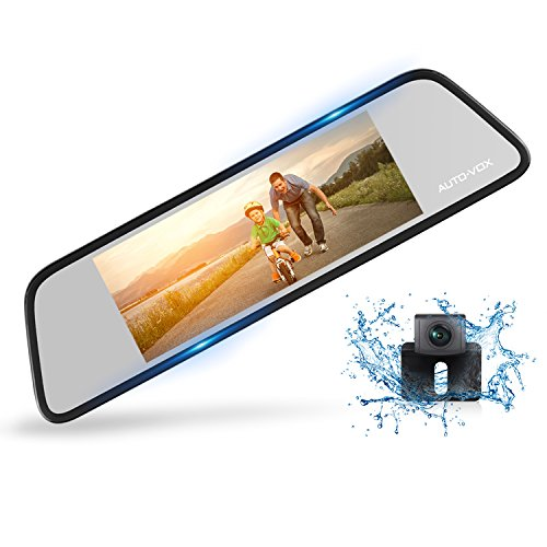 AUTO-VOX M8 Touch Screen Mirror Dash Cam,1296P FHD Front Rear View Mirror Camera and 180°Horizontal View Angle Backup Camera Kit with Lane Departure Warning System, Security Alarm & Motion Detection - Park Scene