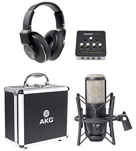 AKG P420 Studio Condenser Recording Microphone+Headphones+4-Channel -