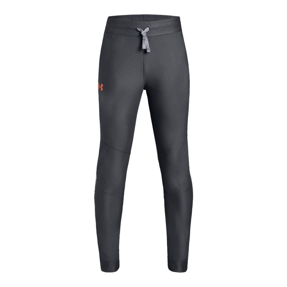 Under Armour Boys' Prototype Pants, Pitch Gray//Orange Glitch, Youth Medium