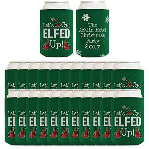 (Personalized Christmas Can Coolies Let's Get Elfed Up Your Text Christmas Party Supplies Christmas Party Décor 24 Pack Can Coolie Drink Coolers Coolies Christmas)