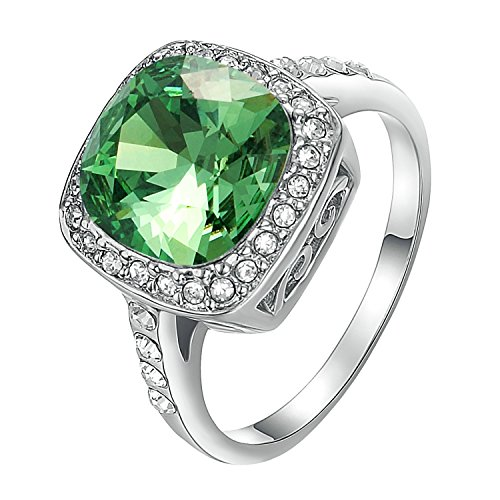 Yoursfs Chrome Diopside Rings for Women Austrian Crystal Wedding Jewelry for Bridal 18K White Gold Plated Lady Cocktail Rings Jewelry Gifts - Ladies Cocktail Ring Gold Plated