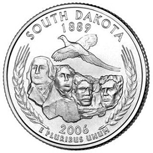 US 2006 South Dakota State Quarter BU Uncirculated Coin Leak Proof Black PU Leather Wrapped Stainless Steel 8 Oz Hip Flask Liquor Water Wine etc.