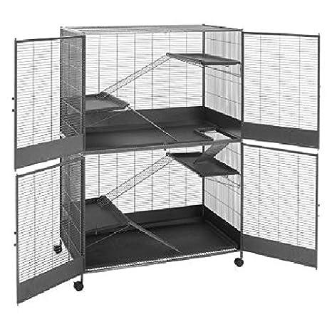 Gran espacioso roedores Jaula - con 2 niveles, de 4 puertas escape ...