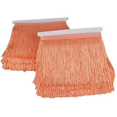 Heartwish268 Fringe Trim Lace Polyerter Fibre Tassel 6inch Wide 10 Yards Long for Clothes Accessories Latin Wedding Dress DIY Lamp Shade Decoration Black White Red(Peach Beige)
