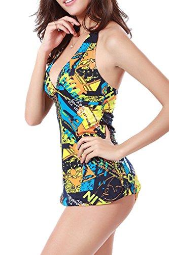 Floral Halter Tankini traje de baño conjunto Yacun mujer Yellow