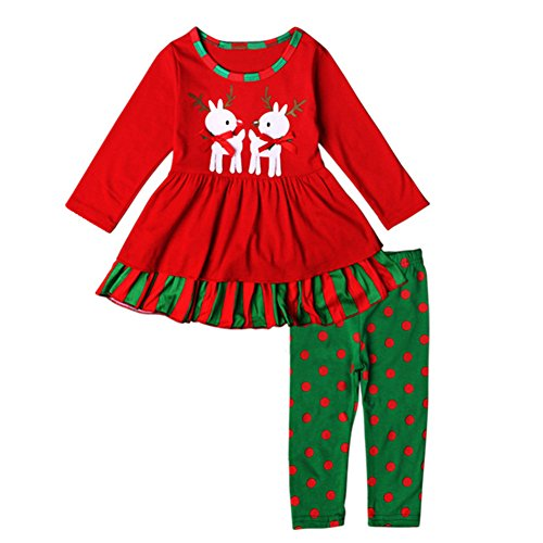 Azhido Baby Girls Christmas 2pc Pant Clothing Set Long Sleeve Deer Outfits (2T,
