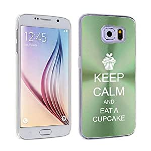 Samsung Galaxy S6 Edge Aluminum Plated Hard Back Case Cover Keep Calm and Eat A Cupcake (Green)