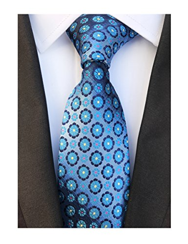 Men's Blue Flowers Silk Ties Jacquard Daily Fashion Dress Meeting Suit Neckties