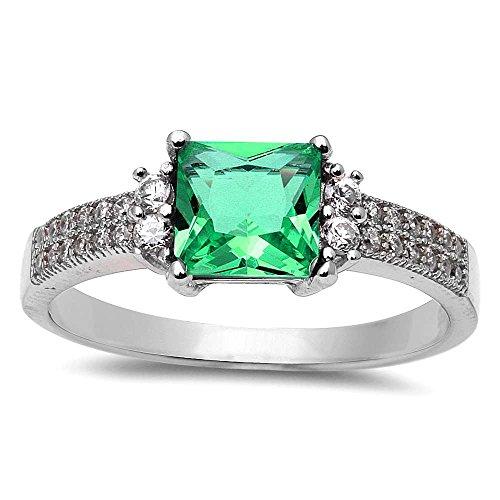 Princess Cut Simulated Emerald & Cubic Zirconia .925 Sterling Silver Ring Size 4 Cubic Zirconia Emerald Ladies Ring