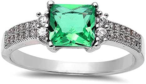 Princess Cut Simulated Emerald & Cubic Zirconia .925 Sterling Silver Ring Size 4-10