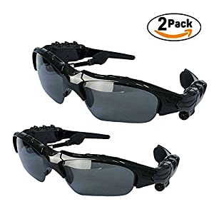 TKSTAR Music Hands Free Sunglasses,Wireless Sunglasses Bluetooth V4.1 Handsfree Driving Music Player Answer Phone,Stereo Music Headphone Sunglasses (2 Pack)