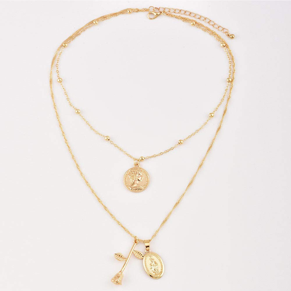 Amazon Com New Women Gold Chain Religion Virgin Mary Rose Pendant Choker Necklace Jewelry Woman Pretty Beautiful Bright Cute Aesthetic Fashionable Beads Comfortable Beauty
