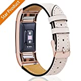 For Fitbit Charge 2 Replacement Bands, Hotodeal Classic Genuine Leather Wristband With Metal Connectors, Fitness Strap for Charge 2, Rose Gold