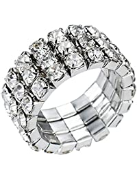Sparkly Three-Row Crystal Rhinestone Stretch Fashion Finger Ring, by JADA Collections