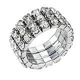 (US) Sparkly Three-Row Crystal Rhinestone Stretch Fashion Finger Ring, by JADA Collections