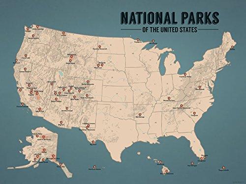 Us National Parks Map 18x24 Poster Tan Juniper