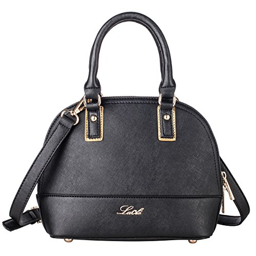 La Cle LA-060 Dome Satchel Crossbody Handbag
