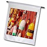 3dRose Lobster Pot Buoys, Fishing, bar Harbor, Maine, USA – Brian Jannsen – Garden Flag, 18 by 27″