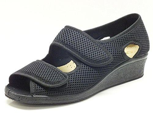 Cinzia Soft UE663.3 Alveare Nero - Sandalias de vestir de Lona para mujer Beige Beige negro