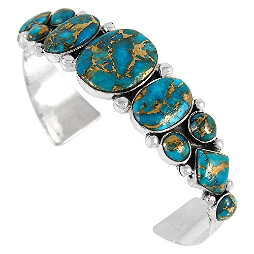 Turquoise-Bracelet-Sterling-Silver-925-Genuine-Turquoise