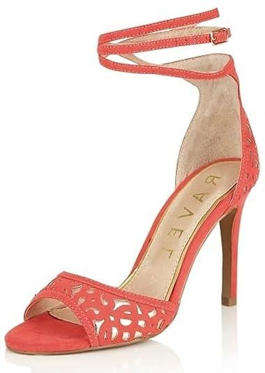 6cacd1b89702 RAVEL - MONTEREY Coral Pink Wrap around ankle strap Sandals Peep-toe  Stiletto High Heels