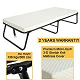 300lbs Max Weight Capacity Quictent Heavy durable Steel Frame folding bed for adult with Comfortable Soft Micro-Quilt 3D Stretch Knit Mattress Cover and Bonus Storage Bag (75''x31''x14'', White Mattress)