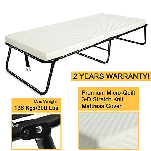 300lbs Max Weight Capacity Quictent Heavy durable Steel Frame folding bed for adult with Comfortable Soft Micro-Quilt 3D Stretch Knit Mattress Cover and Bonus Storage Bag-75