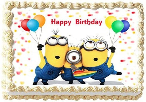 Astounding Amazon Com Minions Party Edible Image Cake Topper Decoration 7 5 Funny Birthday Cards Online Inifofree Goldxyz