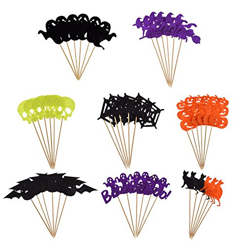 [Antner Halloween Cupcake Topper Halloween Party Cupcake Decor Food Picks,48 Pieces] (Cute Halloween Appetizers)