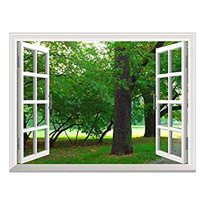 Removable Wall Sticker/Wall Mural - Park in Autumn | Creative Window View Wall Decor - 36