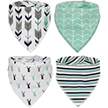 Baby Bandana Drool Bibs, Good for Drooling and Teething - Unisex 4 Pack Bulk for Boys and Girls, Thick and Lightweight (Deer & Arrows)