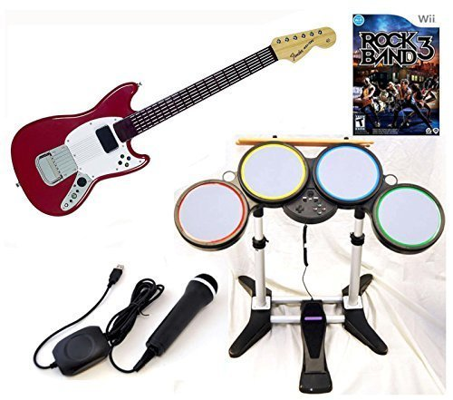 Nintendo Wii-u/Wii ROCK BAND 3 Game Set w/Wireless PRO Guitar Drums kit mic