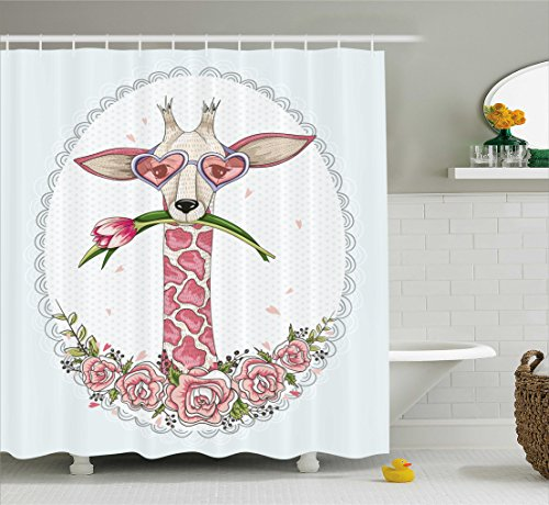 Tulip Heart (Ambesonne Valentine Shower Curtain, Cute Hipster Giraffe with Tulip Heart Shaped Glasses Vintage Love Frame, Fabric Bathroom Decor Set with Hooks, 84 Inches Extra Long, Baby Blue Light Pink)