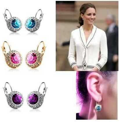 Chokushop 14 Women Fashion Kate Middleton Round Cute Cubic Zircon Czech Crystal Hoop Earrings