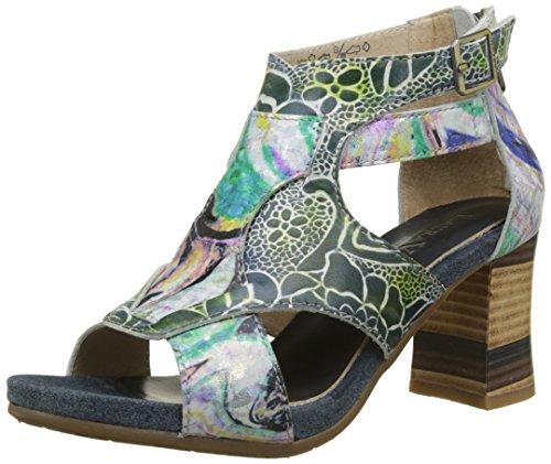 alla Donna Cinturino Jeans Laura Celeste Sandali 038 Jeans Caviglia Vita con Blu fYq1fB