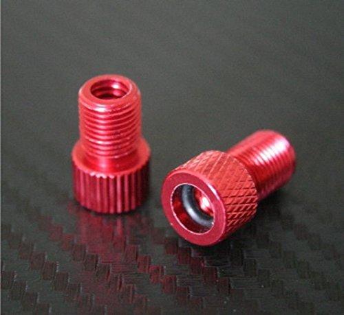 2x Red Presta to Schrader Aluminium Bike Valve Adaptor Adapter Converter with o-ring Seal