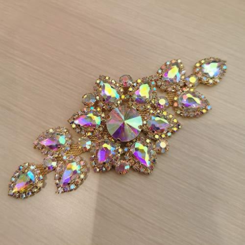 Sew On Bridal Rhinestone Applique for Wedding Evening Dress, Clear Crystal Rhinestones Belt Sash (Crystal AB Gold Base, 5.12x2.36 inches (13x6 cm))