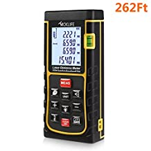Tacklife 262 Feet Laser Distance Measure with Single Distance & Continuous Measurement, Area & Volume Measurement; Range Finder with m/in/ft, Laser Measure 0.05 to 80m