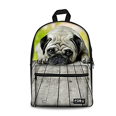 Coloranimal Cute Pet Dog Pattern Girls Canvas Backpack For School