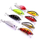 FidgetFidget Fishing Lures Baits Crank bait 10# Hooks Lots of 8pcs 50mm 3.6g Bass Trout Hard