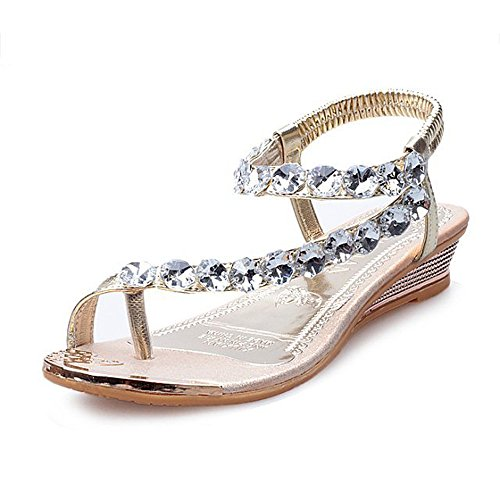 Price comparison product image Mysky Fashion Women Summer Brief Rhinestone Wedges Flats Shoes Ladies Bohemian Casual Pure Color Sandals Gold