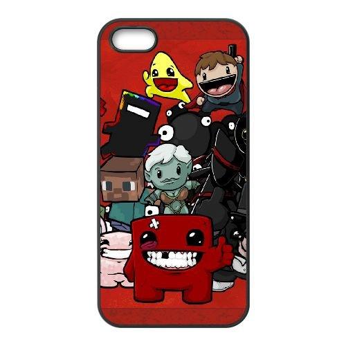 Super Meat Boy Characters Smile Look 22335 coque iPhone 5 5s cellulaire cas coque de téléphone cas téléphone cellulaire noir couvercle EEECBCAAN07059