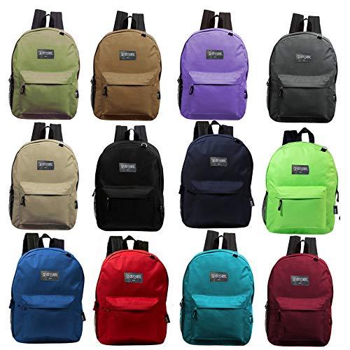 Wholesale Case of 24 Bookbags - 17 Inch Basic Bulk Backpacks in 12 Randomly Assorted Colors