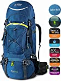 TERRA PEAK Adjustable Hiking Backpack 55L/65L/85L+20L for Men Women With Free Rain Cover Included Black Navy Green and Dark Grey (Blue/Green 65L+20L) For Sale